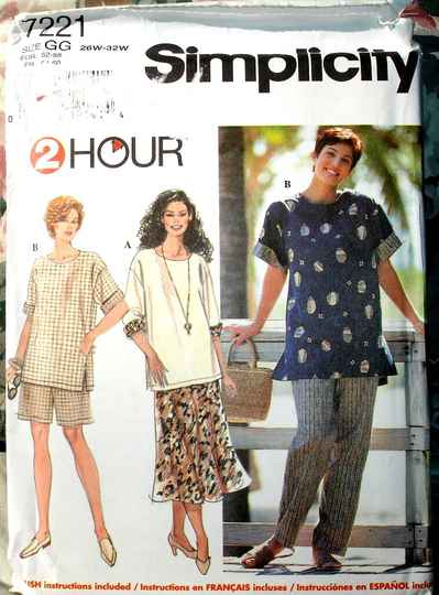 Simplicity 7221 Women's Top Pants Shorts And Skirt Size GG (26W to 32W)