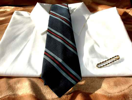 Vintage Men's Tie In Dark Navy Blue With Light Blue And Red Stripes