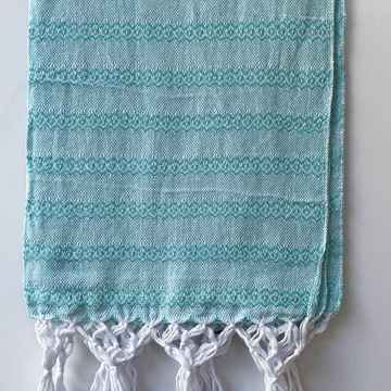 Mexicaanse rebozo turquoise/wit