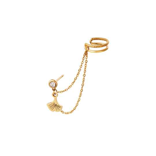 EARCUFF WITH CHAIN AND CHARM