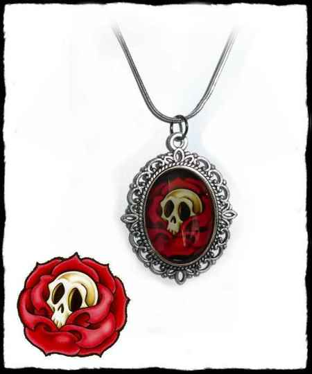 Necklace Rose Skull