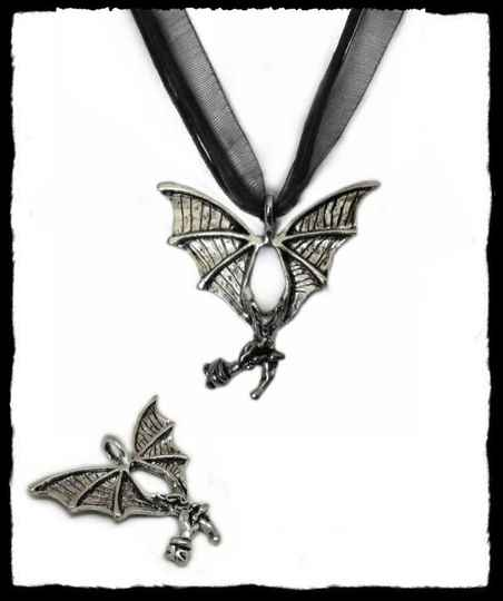 Necklace flying bat with rose