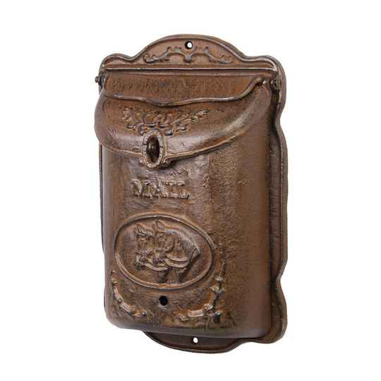 MAILBOX ANTIQUE BROWN WITH HORSES
