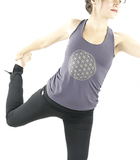 Yoga top 'Flower of life' donker grijs