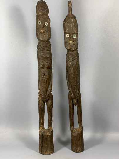 200941 - Couple Rare Tribal Used African Konso Waga Grave statues - Ethiopia.