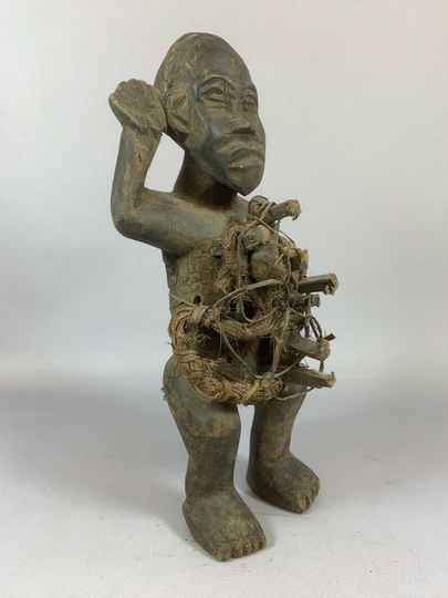 210307 - Old Tribal used African Fetisch Yombe figure - Congo.