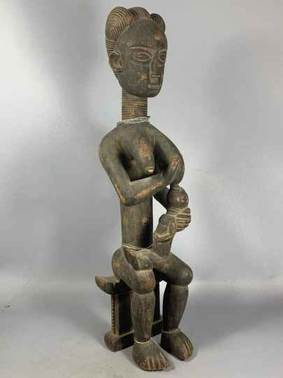 201102 - Antique and Rare Tribal used African Baule statue - Iv. Coast.
