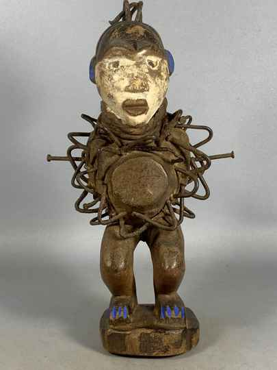 210130 - Old Tribal used African Bakongo magic protection nail statue - Congo.