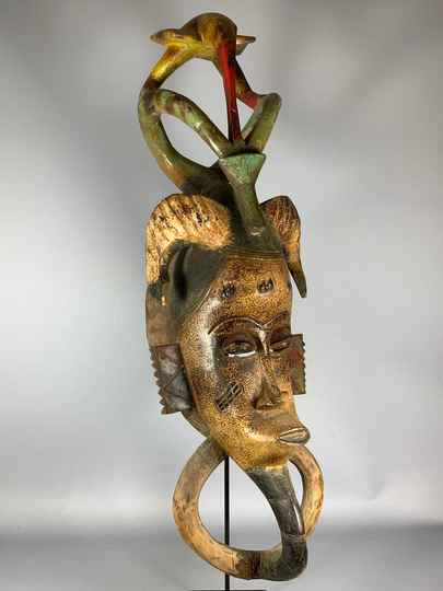 200708 - Old African Tribal used mask from the Guro - Iv. Coast.