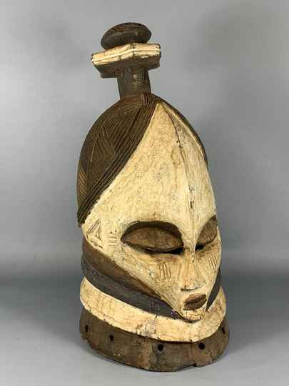 200840- Tribal Used African Mende Helm Mask - Liberia