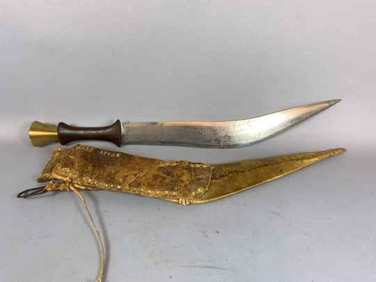 210260 - Tribal used Old African Ethiopian Afar sword with leather case Ethiopia