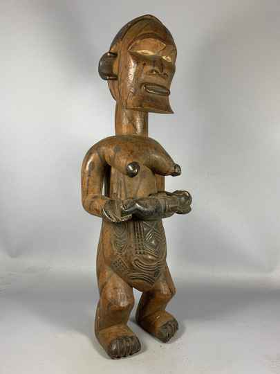 200952 - Antique Tribal used African mother & child Bakongo statue - Congo.