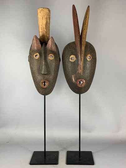 201103 - Old Tribal Used African couple Dogon Masks - Mali
