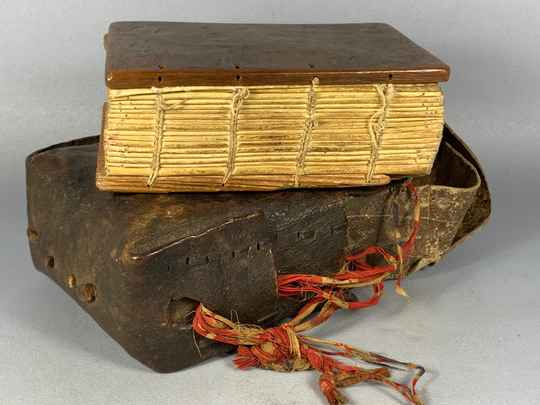 201025 - Old Ethiopian handwritten coptic manuscript with leather bag - Ethiopia
