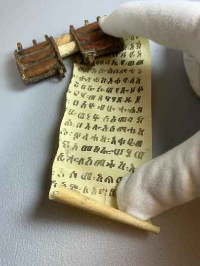210315 - Ethiopian coptic brass handwritten kitab or bible scroll - Ethiopia
