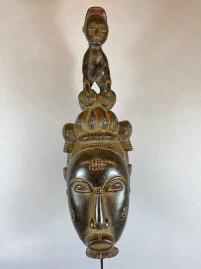 210604 - African Old Tribal Used Baule mask with statue on top - Iv. Coast.