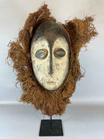 210421 - Old Tribal used African mask from the Lega Bwami - Congo.