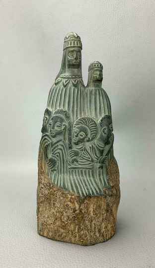 201129 - Used Old Aksumite stone stamp or seal statue - Ethiopia.