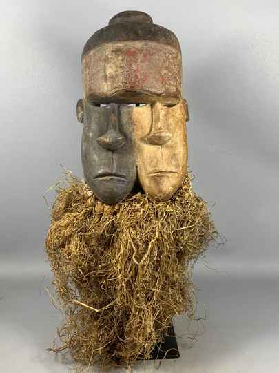 210106 - Old African Tribal used Twin mask from the Galoa - Gabon.