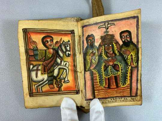 210225 - old Ethiopian handwritten coptic manuscript with icons - Ethiopia