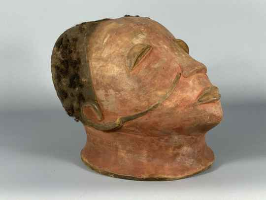 190620 - Rare tribal used Old Makonde helm mask with real hair - Tanzania.