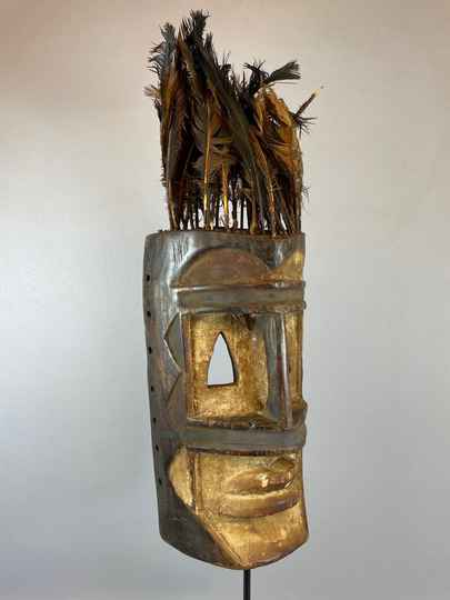 210936 - Old Tribal used African Dogon mask with feathers - Iv. Coast.