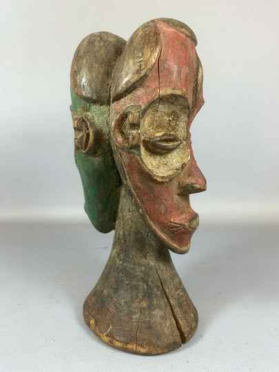 210339 - Old Tribal used Rare African 2 head statue from Eket - Nigeria.