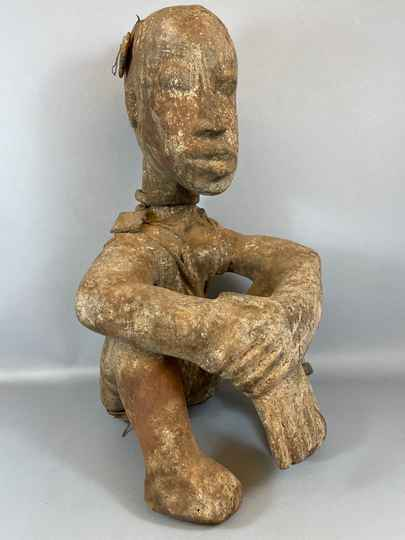 210977 - Old Tribal used African Dogon Fetisch sitting statue. - Iv. Coast.