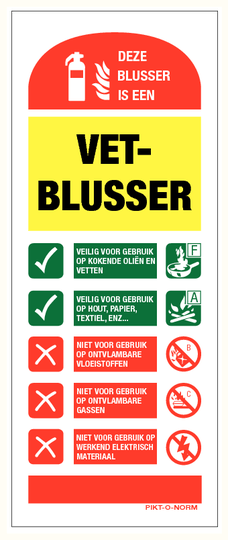 Instructie vetblusser bord (80X200mm)