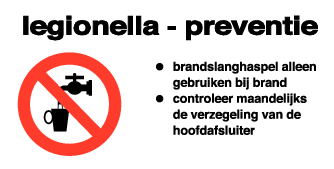 Sticker Legionella Preventie brandhaspel 120x60mm (per stuk)