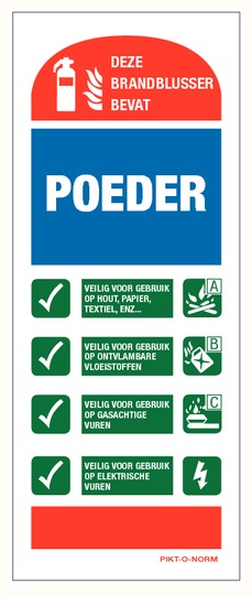 Brandblusser instructie bord poederblusser (80x200mm)