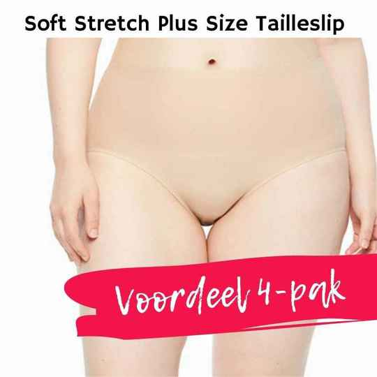 VOORDEEL 4-PAK Soft Stretch PLUS SIZE High Waist Tailleslip - 1137 - huidkleur