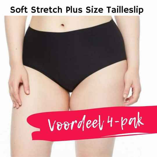 VOORDEEL 4-PAK Soft Stretch PLUS SIZE High Waist Tailleslip - 1137 - zwart