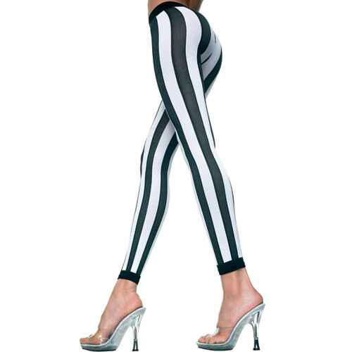 Gestreepte Leggings - Zwart/Wit.   35219-BLACK-WHITE
