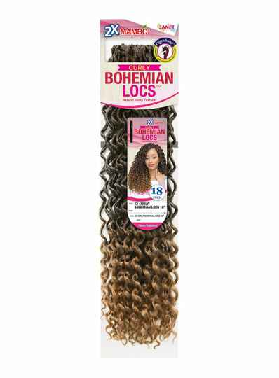 Janet Collection Curly Bohemian Locs Natural Kinky Texture Color 1B - 18 inch Godness Lock Style