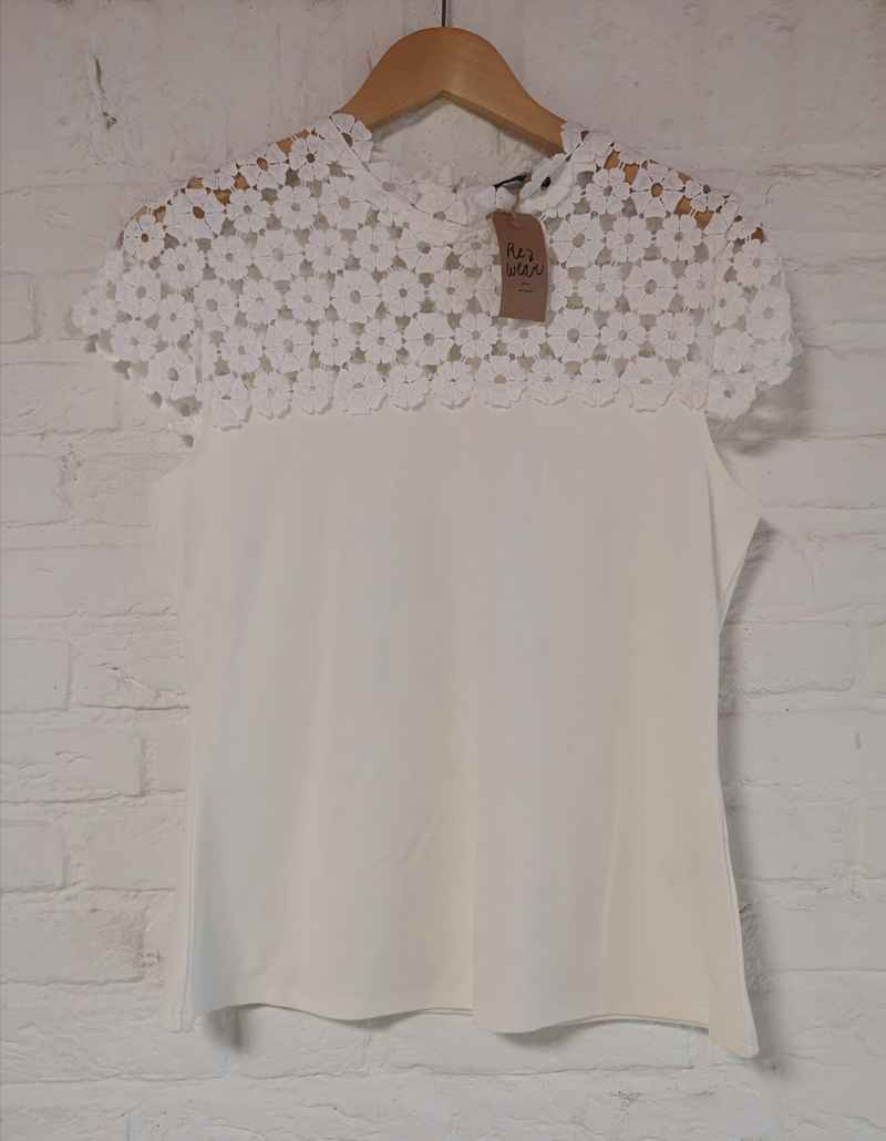 Witte broderie top