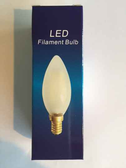 Filament Led kaars E14 230v 1w (vervangt 15 watt) mat 2200K