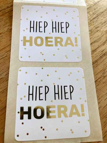 "Luxe cadeau stickers ""Hiep Hiep Hoera"""