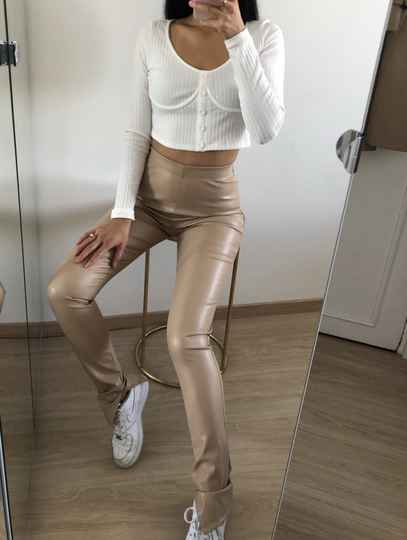 Leatherlook split legging - beige