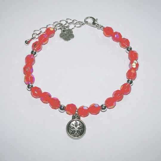 Crystal - flower button bedel rood armband