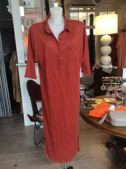 Not Shy Linnen Dress Red