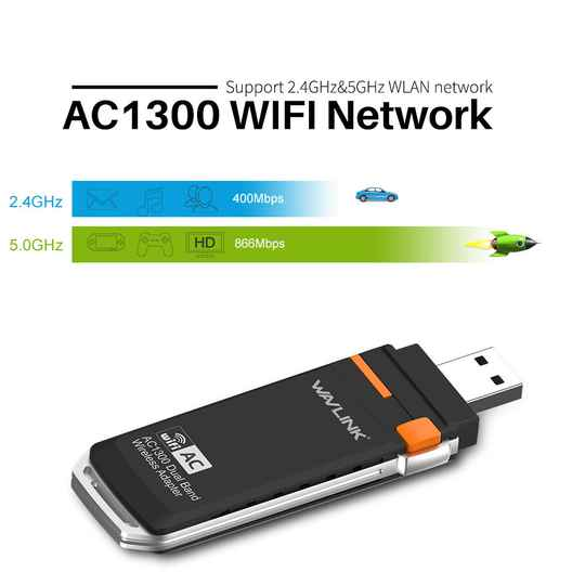 Wavlink® AC1300 USB 3.0 WIFI Adapter Dongle