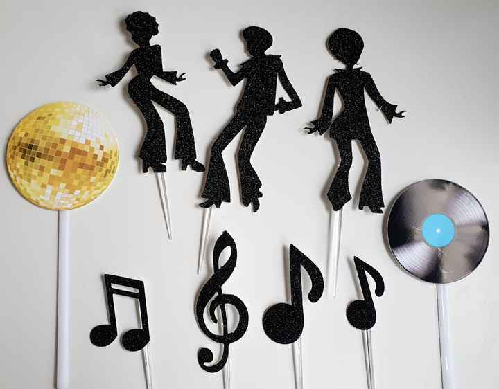Disco fever cake topper set 9 stuks