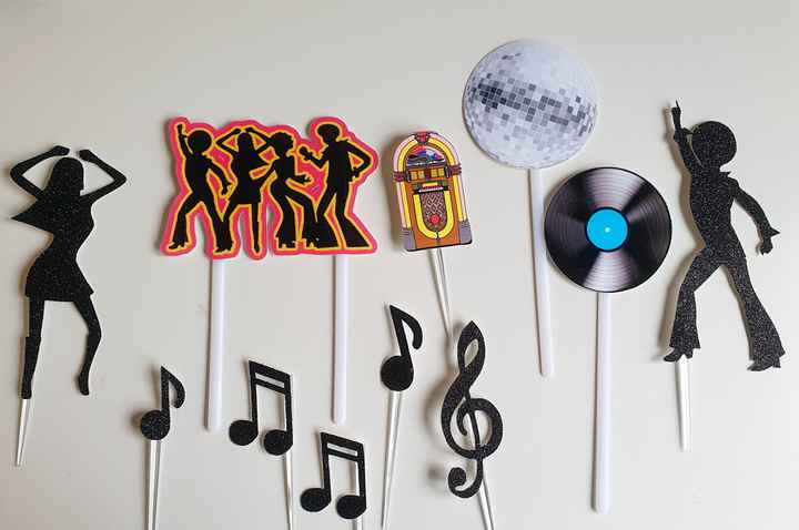 Disco fever cake topper set 11 stuks