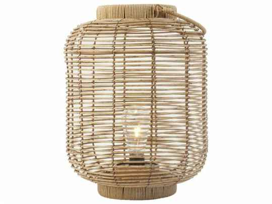 Rotan lantaarn met led, naturel