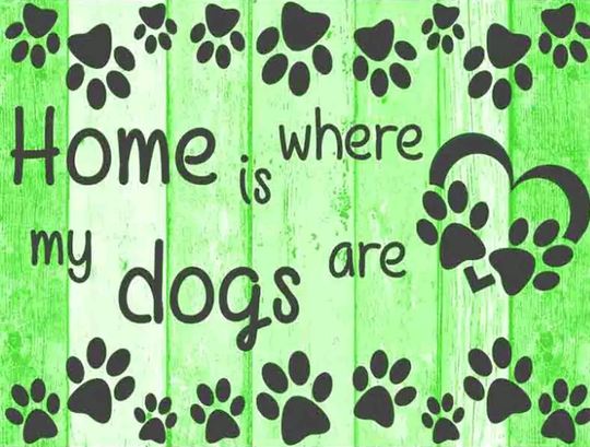 Home is where the dogs are groen / blauw  - Diamond painting