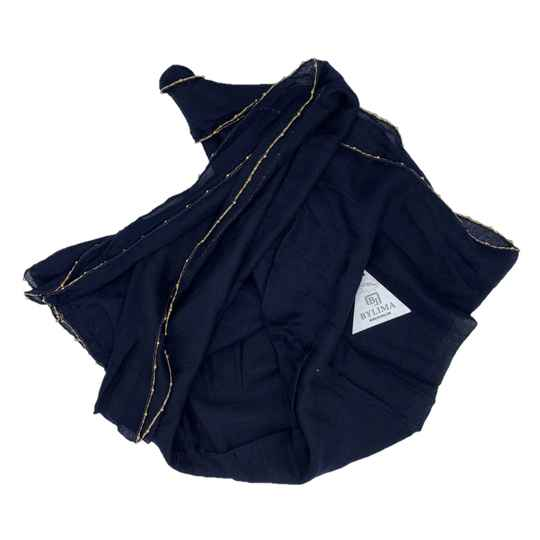 BYLIMA SHAWL SS18 NAVY GOLDEN ELEMENTS
