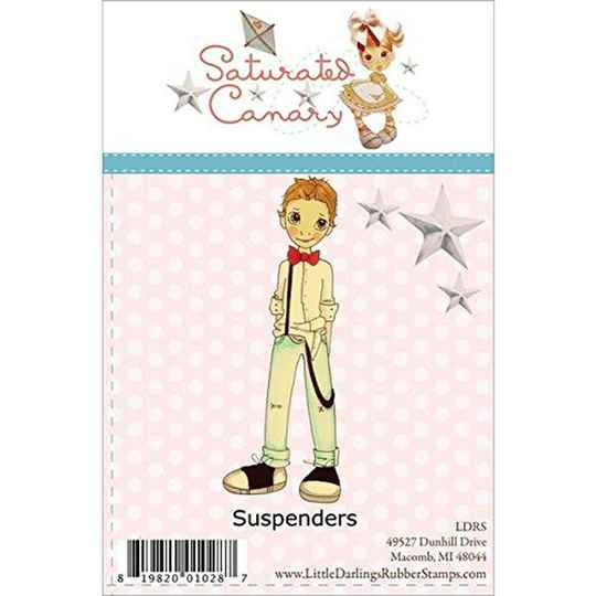 Saturated Canary Little Darlings Unmounted Rubber Stamps, Suspenders