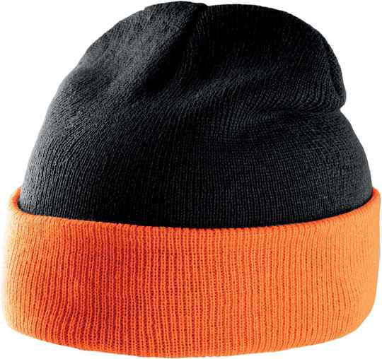 2-kleuren beanie with turn-up  1129