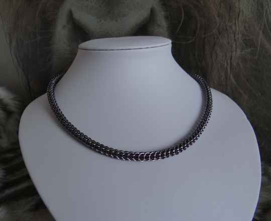 Chainmail collier full persian grijs